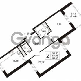 Продается квартира 2-ком 67.01 м² улица Шувалова 1, метро Девяткино