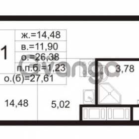 Продается квартира 1-ком 26.38 м² улица Шувалова 1, метро Девяткино