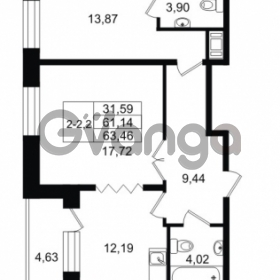 Продается квартира 2-ком 61.14 м² улица Костюшко 19, метро Московская