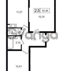 Продается квартира 2-ком 52.36 м² Новая улица 1, метро Девяткино