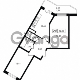 Продается квартира 2-ком 52.59 м² Новая улица 1, метро Девяткино