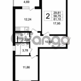 Продается квартира 2-ком 58.75 м² Английская улица 1, метро Улица Дыбенко