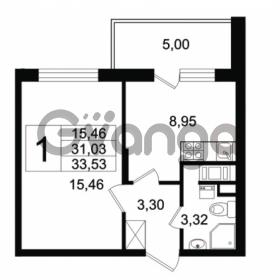 Продается квартира 1-ком 31.03 м² Английская улица 1, метро Улица Дыбенко