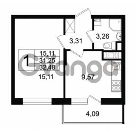 Продается квартира 1-ком 31.25 м² Английская улица 1, метро Улица Дыбенко