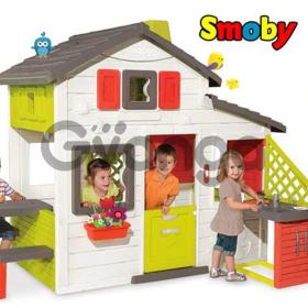 Домик игровой для друзей с чердаком, звонком  кухней Smoby 810201