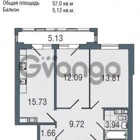 Продается квартира 2-ком 57 м² Заозерная улица 3А, метро Фрунзенская