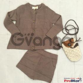 Модный наряд для девочки: Костюм с шортами, коричневый