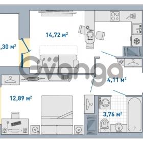 Продается квартира 1-ком 38.78 м² Европейский проспект 14, метро Улица Дыбенко