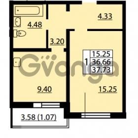 Продается квартира 1-ком 36.66 м² улица Дыбенко 6, метро Улица Дыбенко