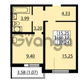 Продается квартира 1-ком 36.17 м² улица Дыбенко 6, метро Улица Дыбенко