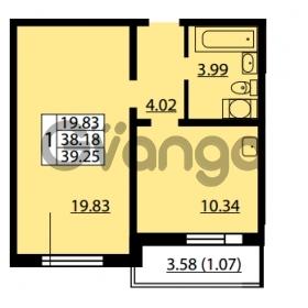 Продается квартира 1-ком 38.18 м² улица Дыбенко 6, метро Улица Дыбенко