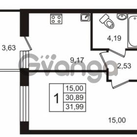 Продается квартира 1-ком 30.89 м² Европейский проспект 14, метро Улица Дыбенко
