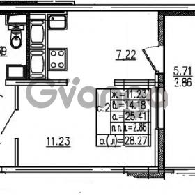Продается квартира 1-ком 28.27 м² проспект Энергетиков 9, метро Ладожская