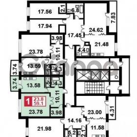 Продается квартира 1-ком 61 м² Маршала Крылова,д.25а