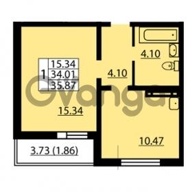 Продается квартира 1-ком 34.01 м² улица Дыбенко 6, метро Улица Дыбенко
