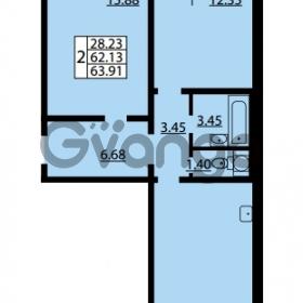 Продается квартира 2-ком 62.13 м² улица Дыбенко 6, метро Улица Дыбенко