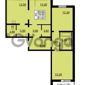 Продается квартира 3-ком 79.9 м² улица Дыбенко 6, метро Улица Дыбенко