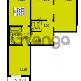 Продается квартира 3-ком 83.8 м² улица Дыбенко 6, метро Улица Дыбенко