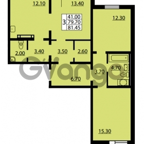 Продается квартира 3-ком 79.7 м² улица Дыбенко 6, метро Улица Дыбенко
