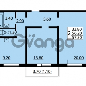 Продается квартира 2-ком 56.2 м² улица Дыбенко 6, метро Улица Дыбенко