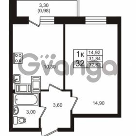 Продается квартира 1-ком 31.84 м² проспект Авиаторов Балтики 3, метро Девяткино