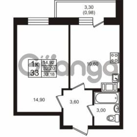 Продается квартира 1-ком 32.2 м² проспект Авиаторов Балтики 3, метро Девяткино