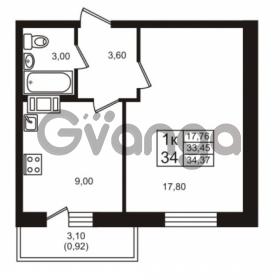 Продается квартира 1-ком 33.45 м² проспект Авиаторов Балтики 3, метро Девяткино