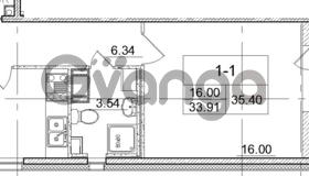 Продается квартира 1-ком 33.91 м² улица Пионерстроя 29, метро Проспект Ветеранов