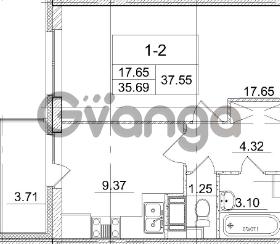 Продается квартира 1-ком 35.69 м² улица Пионерстроя 29, метро Проспект Ветеранов