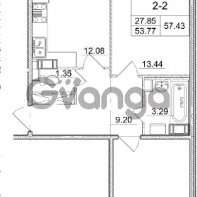 Продается квартира 2-ком 53.77 м² улица Пионерстроя 29, метро Проспект Ветеранов