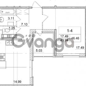 Продается квартира 1-ком 43.94 м² улица Пионерстроя 29, метро Проспект Ветеранов
