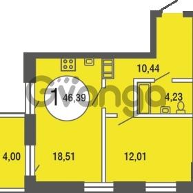 Продается квартира 1-ком 46.39 м² улица Шувалова 4, метро Девяткино