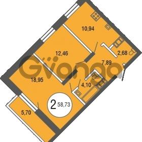 Продается квартира 2-ком 58.73 м² улица Шувалова 4, метро Девяткино