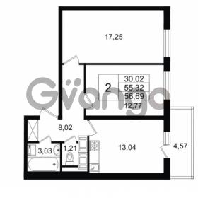 Продается квартира 2-ком 55.32 м² Комендантский проспект 53к 1, метро Комендантский проспект