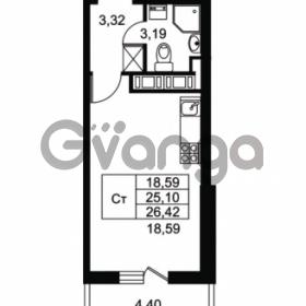 Продается квартира 1-ком 25.1 м² Комендантский проспект 53к 1, метро Комендантский проспект