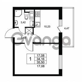 Продается квартира 1-ком 34.16 м² Комендантский проспект 53к 1, метро Комендантский проспект
