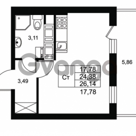 Продается квартира 1-ком 24.38 м² Комендантский проспект 53к 1, метро Комендантский проспект