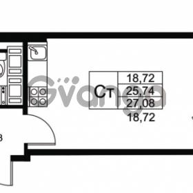 Продается квартира 1-ком 25.74 м² Комендантский проспект 53к 1, метро Комендантский проспект