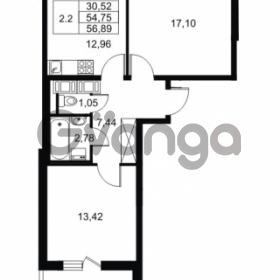 Продается квартира 2-ком 54.75 м² Комендантский проспект 53к 1, метро Комендантский проспект