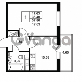 Продается квартира 1-ком 33.48 м² Комендантский проспект 53к 1, метро Комендантский проспект