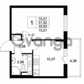 Продается квартира 1-ком 31.52 м² Комендантский проспект 53к 1, метро Комендантский проспект