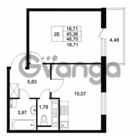 Продается квартира 1-ком 45.36 м² Комендантский проспект 53к 1, метро Комендантский проспект
