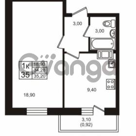 Продается квартира 1-ком 34.28 м² проспект Авиаторов Балтики 3, метро Девяткино