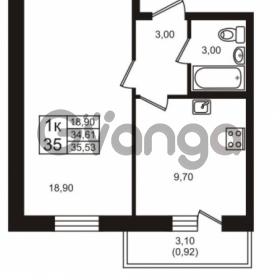 Продается квартира 1-ком 34.61 м² проспект Авиаторов Балтики 3, метро Девяткино