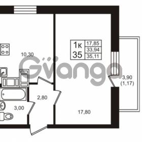 Продается квартира 1-ком 33.94 м² проспект Авиаторов Балтики 3, метро Девяткино