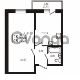 Продается квартира 1-ком 37.69 м² проспект Авиаторов Балтики 3, метро Девяткино