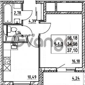 Продается квартира 1-ком 34.98 м² улица Шувалова 7, метро Девяткино