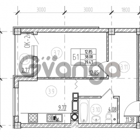 Продается квартира 1-ком 39 м² Невского