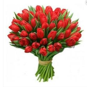 Цветы букет 35 красных тюльпанов
