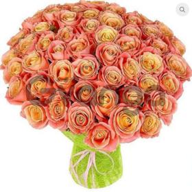 Цветы букет 51 роза Мисс Пигги